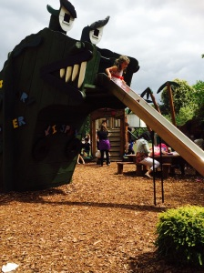 Sliding down a monster's tongue in the story garden!